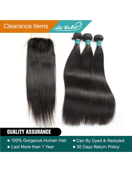 Ali Grace Hair Brazilian Straight Hair 3 Bundles With Closure 100 Percents Remy Human Hair Bundles With Closure 4*4 Middle Free 2 Option by Ali Grace