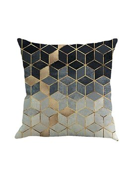Vibola Abstract Geometry Painting Linen Vintage Home Decor Pillow Case Sofa Waist Throw Cushion Cover Home Decor (A) by Vibola®