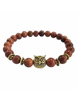 Kesee Volcanic Bracelet Owl Bracelet Gold Bracelet Lava Stone Bead Bracelets by Kesee