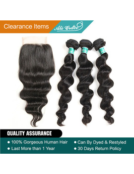 Ali Grace Hair Brazilian Loose Wave Bundles With Closure 100 Percents Remy Hair 3 Bundles With 4*4 Lace Closure Middle And Free Part  by Ali Grace