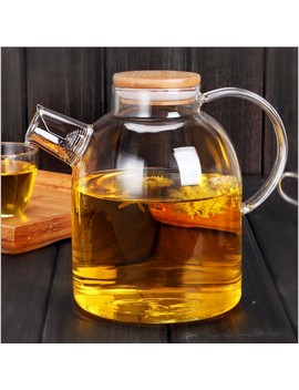 1 Pc High Resistant Borosilicate Glass Water Bottle Large Capacity Filtration Teapot Flower Pot With Bamboo Lid Can Be On The Gas by Mingrizhiguang Home