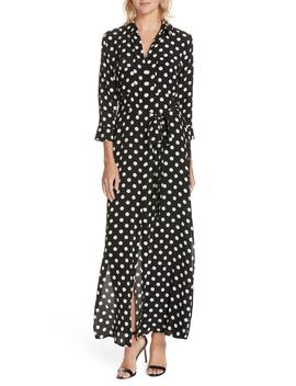 Cameron Polka Dot Silk Maxi Shirtdress by L'agence