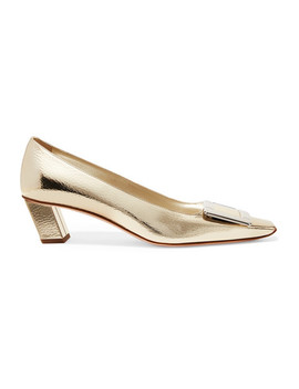 Belle Viver Decollete Metallic Textured Leather Pumps by Roger Vivier