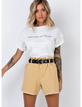 Open Road Paper Bag Shorts Wheat by Princess Polly