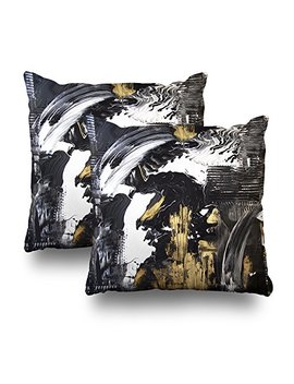 "Soopat Decorative Throw Pillow Cushion Cover 18""X18"" Set Of 2,Abstract Black And White With Gold Acrylic Painting Canvas Wallpaper Decorative Home Decor Indoor Nice Gift Garden Sofa Bed by Soopat"
