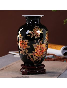 New Chinese Style Vase Jingdezhen Black Porcelain Crystal Glaze Flower Vase Home Decor Handmade Shining Famille Rose Vases by Enhancement