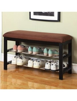 Roundhill Furniture Wood Shoe Bench by Roundhill Furniture