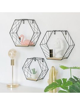 Iron Hexagonal Grid Wall Shelf Combination Wall Hanging Geometric Figure For Wall Decoration  Living Room Bedroom Nordic Rack by Ali Express