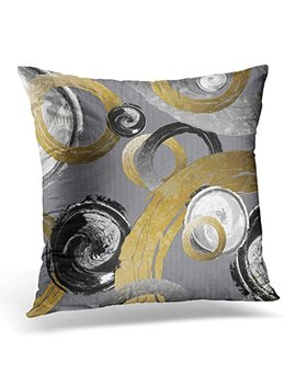 Vanmi Throw Pillow Cover Silver Big Abstract Gold Color Ring Black White Swirl Colored Decorative Pillow Case Home Decor Square 18x18 Inches Pillowcase by Vanmi