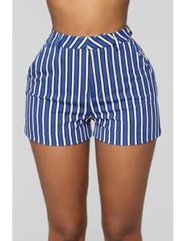 Taylor Stripe Shorts   Royal/White by Fashion Nova