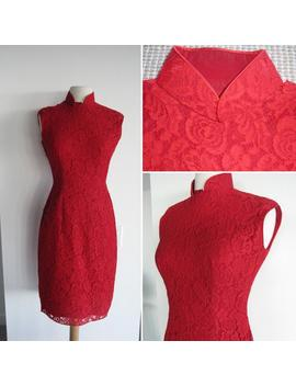 Gorgeous Vintage 1950s Red Lace Mandarin Collar Dress by Etsy