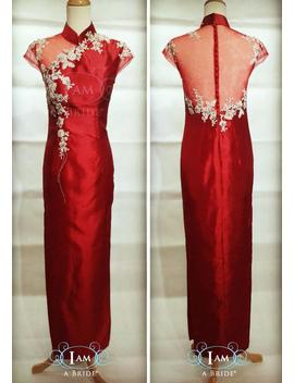 Custom Tailor Made Deep Red Thai Silk Cheongsam With Glittery Gold Patch Laces And Embellishment In Full Length With Both Sides Splits by Etsy