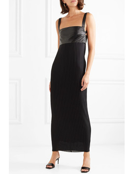 Elara Stretch Leather And Pleated Crepe Maxi Dress by Solace London