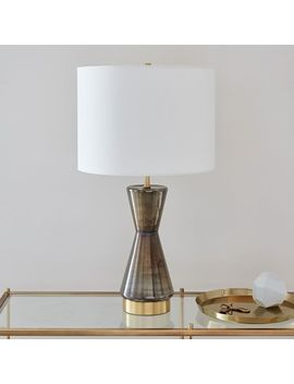 Metalized Glass Table Lamp + Usb   Large (Gray) by West Elm