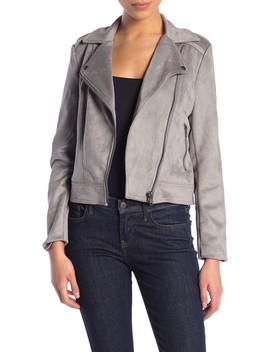 Faux Suede Moto Jacket (Petite) by Philosophy Apparel