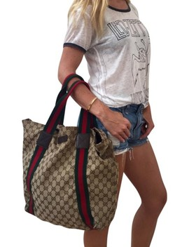 Vintage Vtg Gg Monogram Supreme Sherry Web Brown Leather Canvas Tote by Gucci