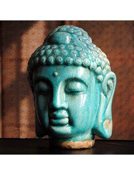 Southeast Asian Style, Ceramic Color Buddha Head, Buddha Crafts, Buddhist Statue, Buddhism Decoration, Gifts, Figurine~ by Kurisuta