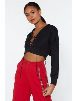 Finish Line Lace Up Crop Hoodie by Nasty Gal