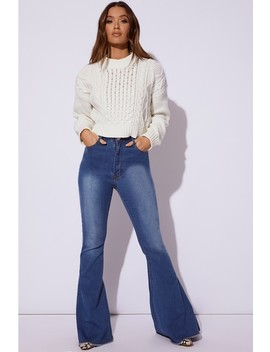 Kaiyah Blue Denim Extreme Flare Jeans by In The Style