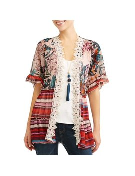 Women's 3fer Kimono With Tank And Necklace by Tru Self