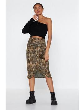 Reptile I Wait Midi Skirt by Nasty Gal