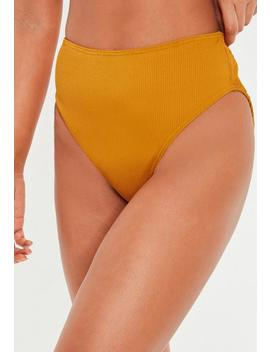 Mustard Mix And Match High Leg Ribbed Bikini Briefs by Missguided