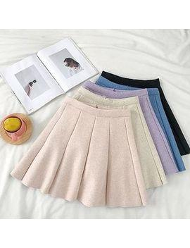 Diyi   Melange High Waist Pleated A Line Skirt by Diyi