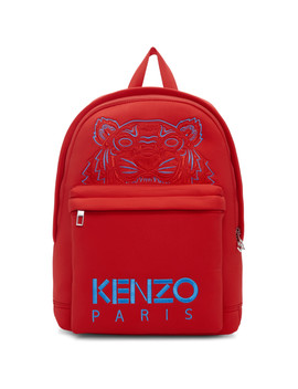 Red Neoprene Large Tiger Backpack by Kenzo