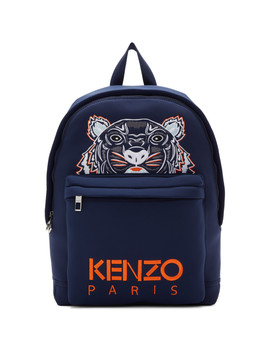 Navy Tiger Logo Backpack by Kenzo