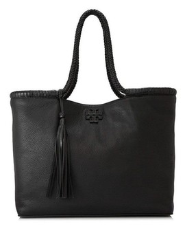 New Tassel Purse Black Leather Tote by Tory Burch