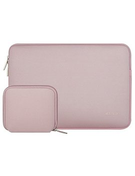 Mosiso Laptop Sleeve, Water Repellent Neoprene Bag Cover Compatible 13 13.3 Inch Mac Book Pro, Mac Book Air, Notebook With Small Case, Pink by Mosiso