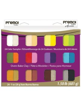 Polyform Premo Clay Sampler Pack, Assorted Colors, 24 Pack by Sculpey