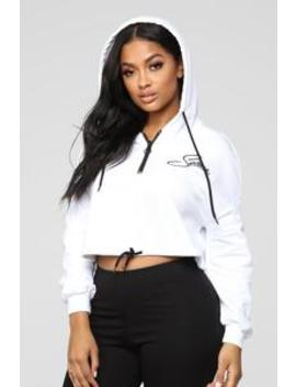 Selena Cropped Hoodie   White by Fashion Nova