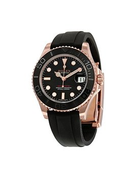 Rolex Yacht Master Automatic Black Dial 18kt Everose Gold Black Rubber Strap Unisex Watch 268655 Bksrs by Rolex