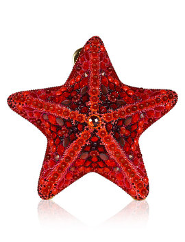 Fromia Starfish Crystal Clutch Bag, Red by Judith Leiber Couture