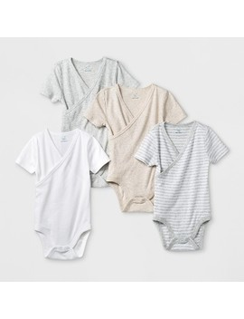 Babys' 4pk Short Sleeve Kimono Bodysuit   Cloud Island™ White by Cloud Island