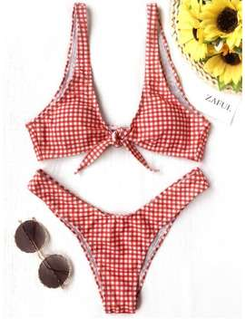 Front Tie Thong Plaid Bikini Set   Red And White Xl by Zaful