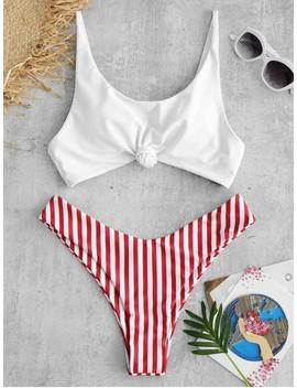 Zaful Contrast Striped Knot Bikini Set   Red S by Zaful