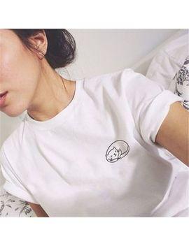 Qui Qui   Short Sleeve Cat Print T Shirt by Qui Qui