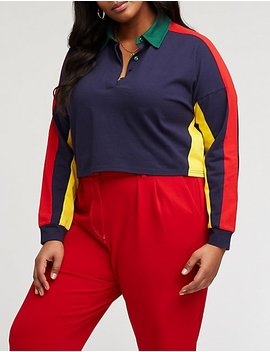 Plus Size Retro Color Block Polo Shirt by Charlotte Russe