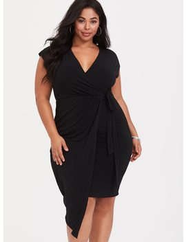Black Jersey Knit Knotted Wrap Dress by Torrid