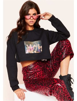 Khloe Black Middle Finger Graphic Cropped Sweatshirt by Missy Empire