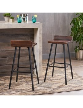 Bidwell Contemporary Indoor Acacia Wood Bar Stools With Iron Legs (Set Of 2) By Christopher Knight Home by Christopher Knight Home