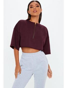 Lila Crop Shirt Mit Reißverschluss by Missguided