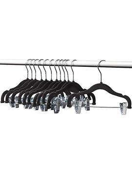 Home It 12 Pack Baby Hangers With Clips Black Baby Clothes Hangers Velvet Hangers Use For Skirt Hangers Clothes Hanger Pants Hangers Ultra Thin No Slip Kids Hangers by Home It