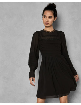 Embroidered Volume Sleeve Dress by Ted Baker