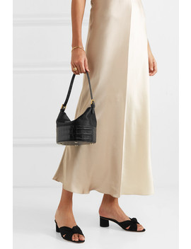 Jamie Duchesse Satin And Croc Effect Leather Shoulder Bag by By Far