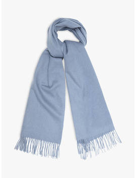 Reiss Saskia Lambswool And Cashmere Fringe Scarf, Mid Blue by Reiss