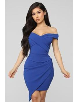 Going Under Cover Off Shoulder Midi Dress   Royal by Fashion Nova