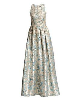 Metallic Floral Jacquard Ball Gown by Theia